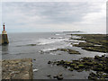 NU2704 : View from the entrance to Amble harbour towards Coquet Island by Pauline E