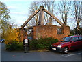 TQ2967 : Remains of Post Mill at Mitcham by Peter Wood