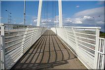 SJ8092 : Footbridge over M60 at Sale Water Park by Phil Champion
