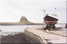NU1341 : Lindisfarne: the castle from the harbour by Chris Downer