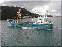 SH5873 : Mussel harvesting off Bangor Pier by Trevor Rickard