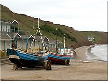 TA1281 : Coble Landing Filey looking to the Sailing Club by John Fielding