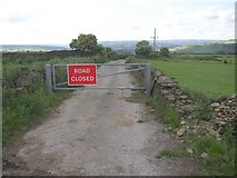 SE1220 : 'Road Closed' sign at Moor Hey, Fixby (The part now in Calderdale District) by Humphrey Bolton