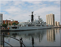 ST1974 : HMS York docks in Cardiff by Pauline E
