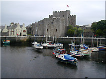 SC2667 : Castle Rushen, and Castle Arms Hotel (Gluepot), Castletown by Chris Gunns