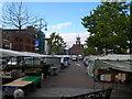 NZ4419 : Stockton market sets up, early Saturday morning by Carol Rose