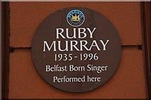 J3373 : Ruby Murray plaque, Belfast (2) by Albert Bridge