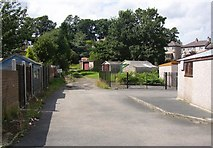 SE1321 : Garages off Castlefields Drive, Rastrick by Humphrey Bolton