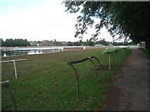 SO8455 : Final furlong at Worcester Racecourse by Trevor Rickard
