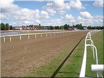 SO8455 : Final straight at Worcester Racecourse by Trevor Rickard