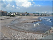 NO8785 : Mouth of Carron Water at Stonehaven Bay, Kincardineshire by C Michael Hogan