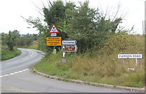 TM0954 : Road signs at junction near Needham Market by Andrew Hill