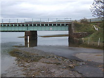 SD0894 : Lane blocked by high tide at Eskmeals viaduct by Andrew Hill