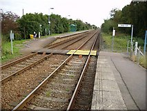 TM4598 : Haddiscoe Railway Station looking towards Lowestoft by Helen Steed