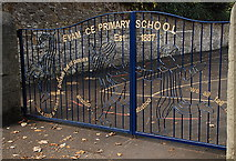SK2176 : Gates to Eyam C of E Primary School by Roger Temple