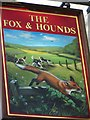 NZ6415 : Sign for the Fox and Hounds, Slapewath by Maigheach-gheal