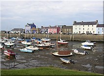 SN4562 : Pen cei and the harbour at low tide, Aberaeron by Humphrey Bolton