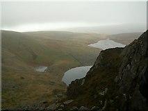 SH5150 : Llynnau Cwm Silyn showing the three Lakes by John Fielding