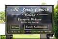 NY6323 : All Saints Church, Bolton, Sign by Alexander P Kapp