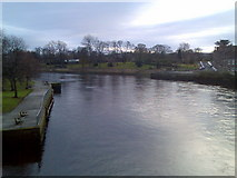 NS3975 : River Leven from Bridge Street bridge by Stephen Sweeney