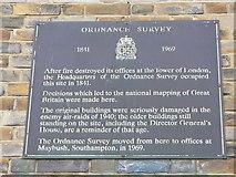 SU4212 : Ordnance Survey Plaque, Barrack House, Southampton. by Colin Smith