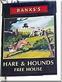 NZ9207 : Sign for the Hare and Hounds, High Hawsker by Maigheach-gheal