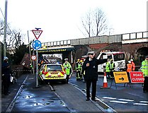 SU3521 : Accident involving a high lorry and a low bridge by Rosemary Oakeshott