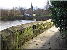 SJ4065 : The city walls and the distance marker '1 Mile ½' by John S Turner