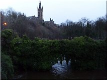 NS5666 : River Kelvin passes Glasgow University Old Building by Stephen Sweeney