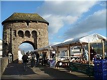 SO5012 : Farmers' market on Monnow Bridge by Robin Drayton