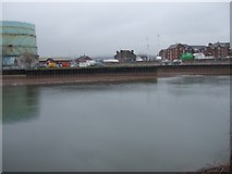 SX9291 : Entrance to Exeter Canal from Exe, reduced flow by David Smith