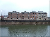 SX9291 : Warehouses between Exe & canal basin & quay by David Smith