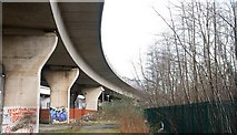 J3475 : Elevated road and railway, Belfast by Albert Bridge