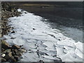 NO4380 : Ice piled at the shore of Loch Lee by Gwen and James Anderson