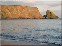 X4197 : St John's Island at sunset, Ballydowane Bay by Hector Davie