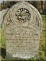 SX1995 : Bird and plants carved on gravestone, Jacobstow by David Hawgood