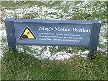 NT9953 : Meg's Mount Bastion sign, city walls, Berwick by Nick Mutton