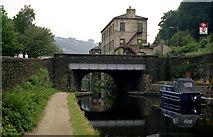 SD9926 : Station Road Bridge 16, Rochdale Canal, Hebden Bridge by Dr Neil Clifton