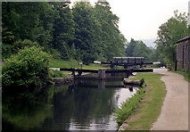 SD9926 : Mayroyd Mill Lock No 8, Rochdale Canal by Dr Neil Clifton