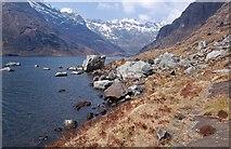 NG4820 : Fresh rockfall at Loch Coruisk by John Allan