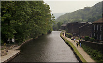SD9926 : Hebden Bridge: Rochdale Canal from Station Road Bridge by Dr Neil Clifton