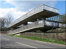 SU6350 : Footbridge ramp - crossing the M3 by Given Up