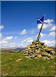 NX6082 : The Cairn on Waterside Hill, Cairnsmore of Carsphairn in Background by Duncan McNaught