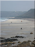 SW3526 : Kite flying day at Sennen Cove by Pauline E