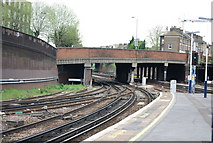 TQ2775 : End of platform 14, Clapham junction station. by N Chadwick