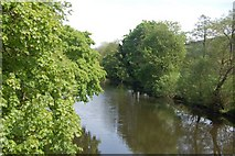 SH7956 : Afon Conwy north of the suspension bridge. by John Firth