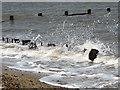 TG3831 : Steel sheet pilings and derelict groyne by Evelyn Simak