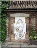 TQ3680 : Sculpture of St Katharine at Royal Foundation of St Katharine, Butchers Row, London E14 by John Salmon