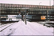 SJ8499 : Manchester Victoria - Corporation Street bridge 1979 by Peter Whatley