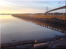 NT1278 : East wall of Port Edgar marina, and some old bridge by Alan Stewart